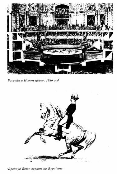 Бассейн в новом цирку. 1886 год. Франсуа Боше верхом на Буридане