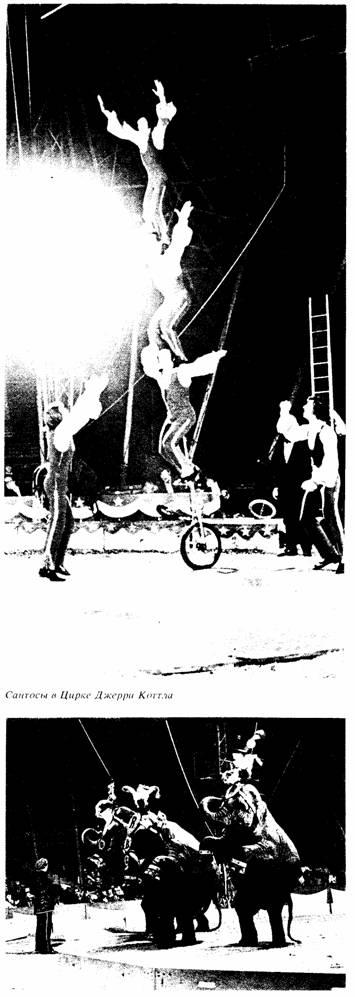 Моноциклисты Сантосы в цирке Джерри Котла. Слоны