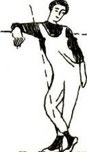 Руки согнутые в локтях, нужно поднять до уровня плеча и отвести как можно дальше назад. Лопатки при этом предельно сведены. Кисти рук расслаблены. Корпус, как бы оседая, отклоняется назад как можно дальше. Ноги нужно согнуть в коленях и одну из них поставить несколько позади другой - именно на нее и переносится центр тяжести. Положение головы произвольное