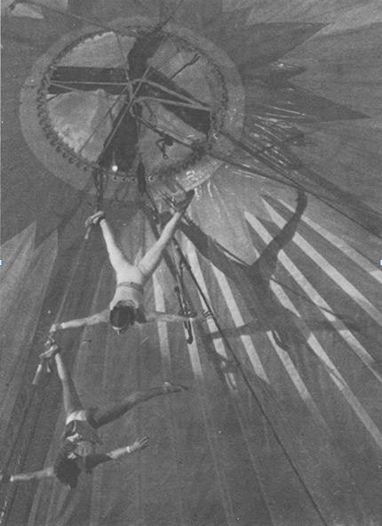 Воздушный перш, или бамбук. Выступают ученики Цирковой школы Нуво Каррe.  Цирк Грюссов. 1975 год