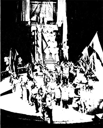 Фрагмент парад-пpoлога в цирке на ленинских горах.