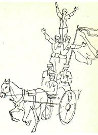 Джигиты. Рисунок  Р. Мусихиной