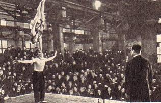 Встреча артистов Литовского коллектива с рабочими завода имени Октябрьской Революции.