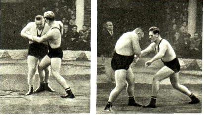 В стойке мастера спорта СССР В. Плясуля и В. Белоглазов