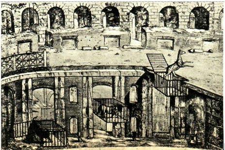 Сценические приспособления для показа  пантомимы в Колизее (вариант  реконструкции)