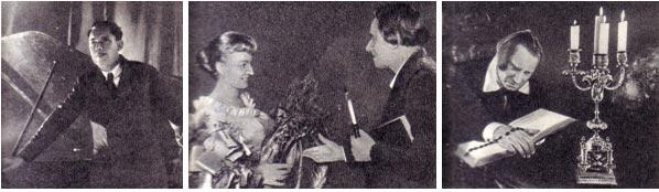 Сергей Балашов читает свою первую композицию «Турксиб». 1931 г., Чехословацкие друзья вручили артисту «золотой венок», Гамлет