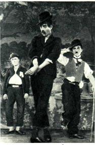Б. Чирков (Паташон),   Н. Черкасов (Пат) и П. Березов (Чарли Чаплин)