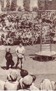 Выступления народного артиста РСФСР В. Филатова всегда проходят с огромным успехом не только на манеже цирка, но и на площади колхозного села. Фото Морозовского