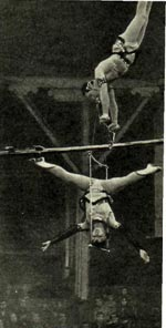 Номер «Воздушных эквилибристов на качающейся стреле» Ирины и Евгения Соколовских.