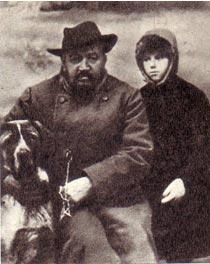 А. И. Куприн с дочерью Ксенией  и Сапсаном