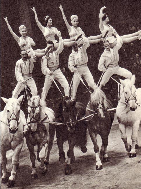 Конный цирк был представлен жокеями Кароли. Это было красивое зрелище.