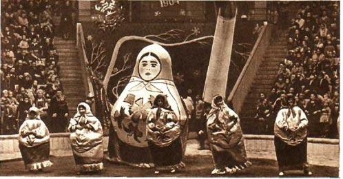 У каждого малыша среди игрушек наверняка есть ярко раскрашенные матрешки. Придя в Ленинградский цирк, юные зрители увидели на манеже танец оживших матрешек.