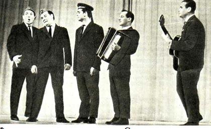 Фрагмент из программы «Спроси у памяти». Слева направо:  Г. ЛАВРУСЮК, Н. ЗАЙЦЕВ, И. ГРОМСКИЙ, В. ЖИГУНОВ, Н. ЛОПУХОВ
