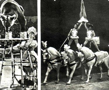 НА СНИМКАХ: артисты советского цирка — дрессировщица медведей Э. Подчерникова и наездницы Щетинины — на манеже шапито.
