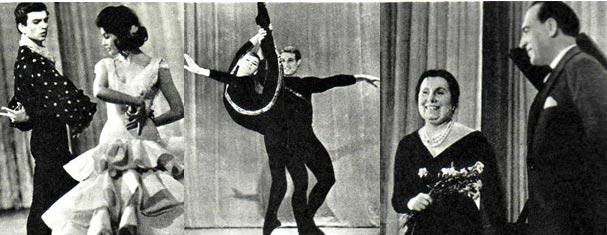 Испанский танец. Исполнители Р. ГАТИНА и М. НЕГРУ Акробатический вальс исполняют Ю. РОМАНЕНКО и А. ГАЙДАРОВ А. РЕДЕЛЬ и М. ХРУСТАЛЕВ