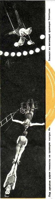 Гимнастки на трапеции сестры Ив и гимнаст на штейн-траппе Томезани