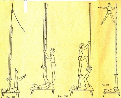 Балансирование лестницей, стоящей на ногах