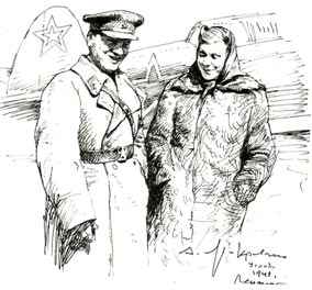 В. Ф. Коралли и К. И.  Шульженко на Ленинградском фронте. Рисунок   Анатолия   ЯР-КРАВЧЕНКО