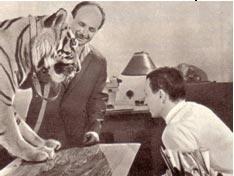 Рабочий момент съемки Вальтера Запашного с животными