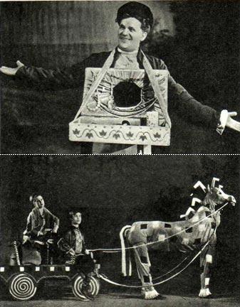 Коробейником выходит артист Л. Читалкин в зрительный зал и сценка «Ваня едет на базар». Исполняют артисты 3. Малыгина и Н. Андреев