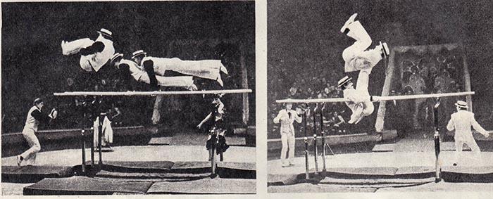 «Гимнасты-каскадеры на параллельных брусьях с тремя жердями» Виктора Голышева