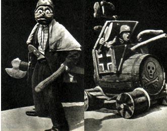 Маска гитлеровского захватчика: - Нах Москау!