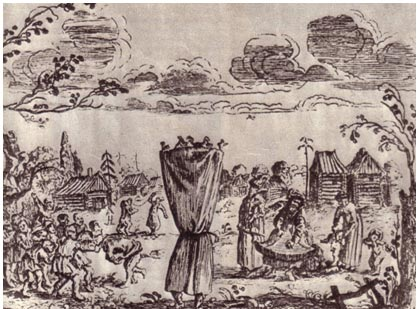 Скоморохи. Рисунок Олеария. XVII век