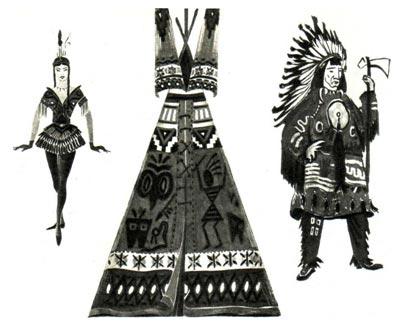 Эскизы костюмов и вигвама (представление «ТРУБКА МИРА»). Худ. Л. ОКУНЬ