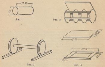 Катушки могут быть и металлическими, выточенными на токарном станке. Металлическая катушка состоит из двух дисков и оси. На дисках вырезают пазы, стачивая на две трети диски по ширине и на 1 —1,5 см по высоте (рис. 3). Затем берут две металлические полосы, соединенные между собой. Длина полос 60—70 см, ширина их должна равняться длине катушки между желобами до упора (рис. 4).