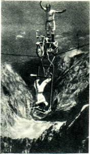 Альфредо Трабер и его сын Генри по канату над горной   долиной