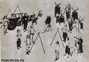 Выступление гимнастов на турнике