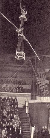 Сложный трюк баланс на стуле с партнершей на плечах исполняют канатоходцы Ниварс