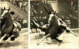 В   1907   году   Али-бек  первый в  мире на цирковой арене исполнил «пролезание под живот лошади»