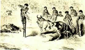Г. Доре. Тореро Мигель Лопес Горрито убивает  Быка,   стоя   на   ходулях