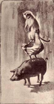 Иван Иванович при слове «три» взмахнул крыльями и вскочил на спину свиньи