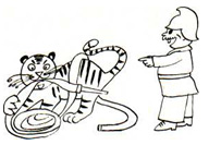 Тигр жуёт пожарный шланг