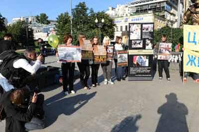 Акция правозащитников животных на Цветном бульваре
