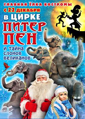 Андрей Дементьев-Корнилов подарит гостям Костромского цирка новогодний спектакль  «Питер Пен и тайна слонов-великанов»