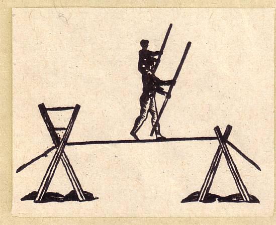 переход по канату колонной в два человека