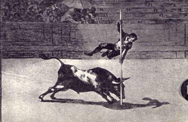 Гойя. Офорт из серии «Тавромахия» - «Ловкость и смелость Хуанито Апиньяни»