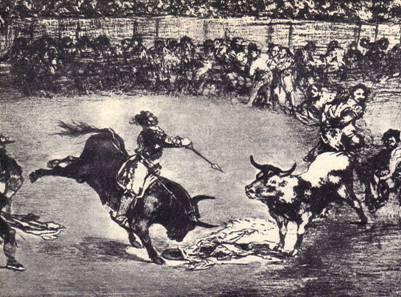 Офорт Гойии из серии «Тавромахия» - «Тот же Сабальос, вскочвший на другого быка, сражается на Мадридской арене»