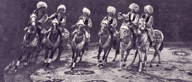 Труппа туркменских джигитов под руководством заслуженного артиста Туркменской ССР Д. Ходжабаева