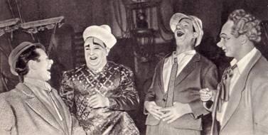 заслуженные артисты Латвийской ССР Антонио Маркус, Роланд, Алексей Шлискевич  и артист С.  Крейн.
