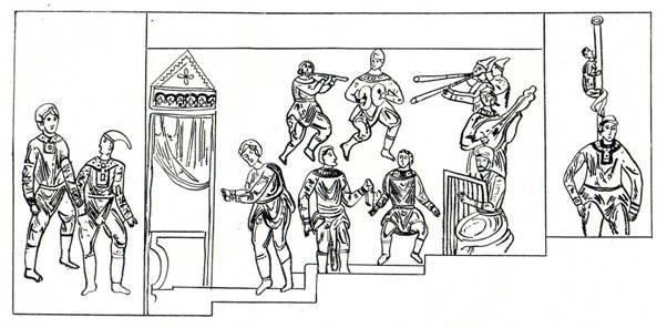 Скоморошье ипподромное представление. Калька с фото Фрески Киево-Софийского собора. ХІ век.