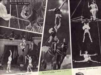 Акробаты с подкидной доской Карповы. Воздушные гимнастки Бубновы. Классический этюд на лошади в исполнении Т. и Г. Лапиадо