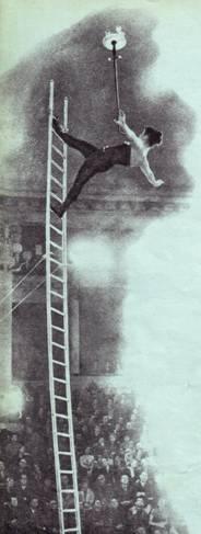 Сложный  баланс  на лестнице демонстрирует молодая артистка В. Бирина.